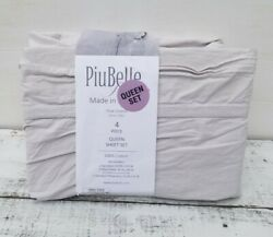 4pc Piubelle Knit Band Queen Sheet Set Gray Cotton Cottage Shabby Chic New