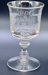 Antique 1882 Clear Glass Goblet Etched Signed Saratoga