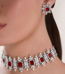 Ruby Choker Necklace With Earrings In Sterling Silver