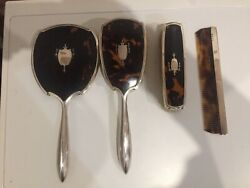 Beautiful Small Antique Set In Silver And Artificial Turtle Shell Garnished Used