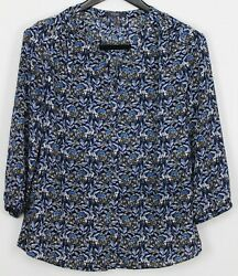 NYDJ Small Women#x27;s Top 3 4 Sleeve Button Up Accordion Pleated Back Navy Blue $24.49