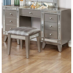Benzara Wooden Set Of Vanity And Stool With Mirrored Accents Mercury Silver
