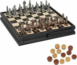We Games Pewter Egyptian Chess And Checkers Set, Black Stained Wood Board, 15 In.