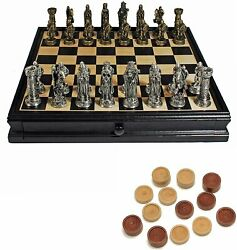 We Games Pewter Medieval Chess And Checkers Set - Black Stained Wood Board - 15 In