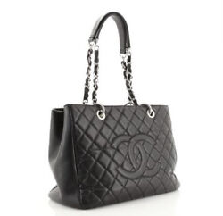 Quilted Caviar Leather Grand Shopping Tote Handbag - Black / Silver