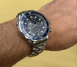 Omega Seamaster 300m Chronograph Blue 41mm Box And Card Divers Watch