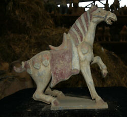 18 Collect Old China Tang San Cai Earthenware Dynasty Stand War Horse Statue