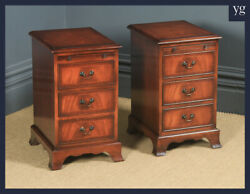 Pair Of English Georgian Style Figured Mahogany Bedside Chest Of Drawers Tables