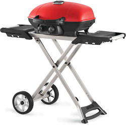 Portable Propane Gas Grill W/ Cast Iron Grates, Griddle, And Foldable Scissor Cart