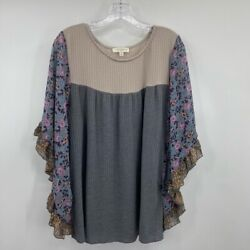 Umgee Xl Womens Waffle Knit Blouse Gray Floral Dolman Sleeve Scoop Neck Stretch