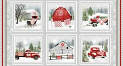 Holiday Heartland By Jan Shade Beach For Henry Glass Red Barn Panel #9208 98 $11.75