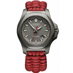 Victorinox Swiss Army Menand039s Watch I.n.o.x. Grey Dial Red Paracord Strap 241882