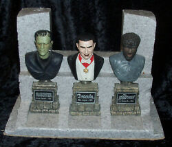 Sideshow Universal Monsters Legacy Coll Dvd Statue Bust Set Dracula Wolf Man