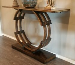 John Richard Collection Modern Regency Gilt Wood Circle Console Table Horchow