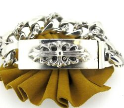 Chrome Hearts 1997 Sterling Silver Mens Cuban Link Heavy Bracelet 8and039and039
