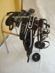 Horse Driving Harness Patent Material With Designer White Weaving On All Items