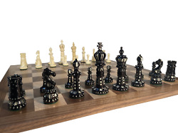 4 Persian Polygraphy Bone Chess Pieces In Teakwood Case
