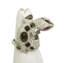 New 1.75ct Diamonds And Rubies Cabochon Topaz 3d Lizard Ring Size 6.25