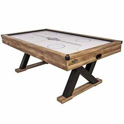 """Kirkwood 84"""" Air Powered Hockey Table With Rustic Wood Finish, K-shaped Legs"""