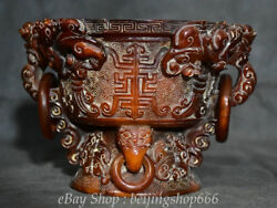 8 Chinese Old Antique Ox Horn Carved Beast Lion Head Handle Pot Jar Crock