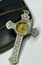 Anddagger Unique Antique M Claret Relic Theca Cross Crucifix Opens 1 15/16 Buy Rosary Anddagger