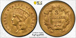 1878 3 Three Dollar Gold Pcgs Ms 62 Uncirculated Princess Head Us Type Coin