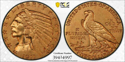 1911 D 5 Indian Head Half Eagle Pcgs Au 50 About Uncirculated Cac Approved