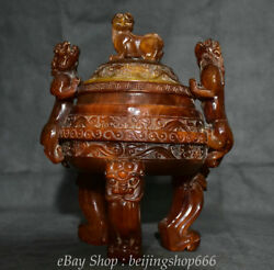 9 Marked Chinese Old Antique Ox Horn Carved Lion Beast Handle Incense Burner
