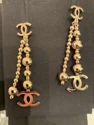 New Authentic W Receipt Sold Out Cc Logo Gold Stud Dangle Drop Earrings