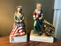 2 Lionstone Whiskey Decanters Betsy Ross And Molly Pitcher 1975 Great Condition