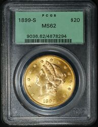 1899-s 20 Type 3 Liberty Head Gold Double Eagle Pcgs/ogh Ms62