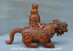 14 Rare Chinese Ox Horn Carving Dynasty Dragon Beast Lion Lid Kettle Statue