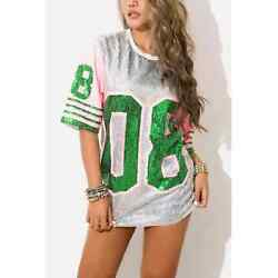Aka Sorority Pink And Green Sequin Jersey One Size
