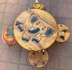 Childandrsquos Hand Carved Table And Chair Set Thailand Disney Pooh Bear Dumbo Unique