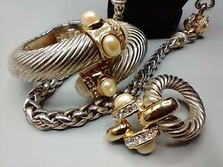 Givenchy 80s Vintage Silverpearl Gold Chain Necklacebracelet Clip Earring Set