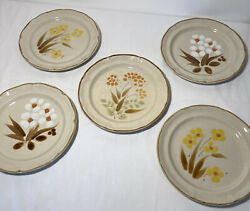 """Set of 5 Assorted Stoneware Dinner Plates 10.5"""" Hearthside Japan Hand Painted"""