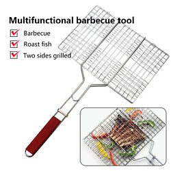 Barbecue Grilling Basket Grill Bbq Net Steak Meat Fish Vegetable Holder Tool Usa