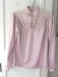 Vintage Silky Lilac Victorian Style Blouse - Mj Concepts In Sportswear - 9