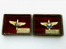 Ww2 Us Army Air Corps Propeller Wing 24k Gp Pin Badges 2pcs With Box Usaac Usaaf