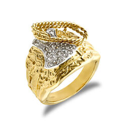 Jewelco London Mens 9ct Gold Cz Horse Saddle Rope Ring