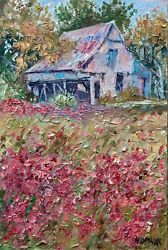 Barn Poppies Meadow Landscape Impressionism Oil Painting Idkowiak Collectible