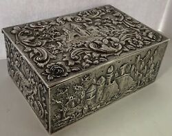 Loring Andrews Landscape Castle Architectural Repousse Sterling Jewelry Box