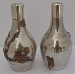 Gorham Spun Textured Mixed Metals Copper Sterling Salt And Pepper Shakers 1880