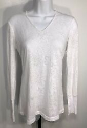 Prana Jersey Knit July Hoodie White Swirl Floral Burnout Top Hooded Yoga Light M