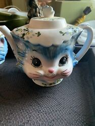 Vintage Miss Priss Kitty Tea Pot And Sugar And Creamer