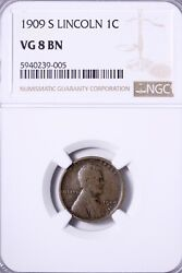 1909-s Lincoln Wheat Cent Penny Ngc Vg 8 Free Shipping Klm