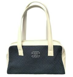 Handbag Cream Patent Leather And Navy Quilted Cloth Cc Satchel Tiny Check