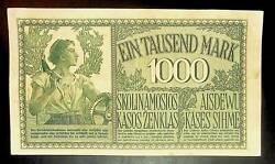 1918 Germany Eastern Territories Lithuania 1000 Mark Banknote