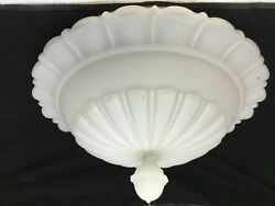 Antique Frosted Milk Glass Shade Ceiling Dome 14 Fit Thread On Glass Medallion