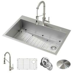 Loften Dual Mount Drop In Kitchen Sink Pull Down Faucet 2 Hole 33 Stainless